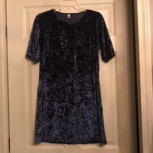 Navy Blue Crushed Velvet Dress